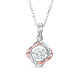 Unstoppable Love™ 5.0mm Lab-Created White Sapphire Love Knot Pendant in Sterling Silver and 18K Rose Gold Plate