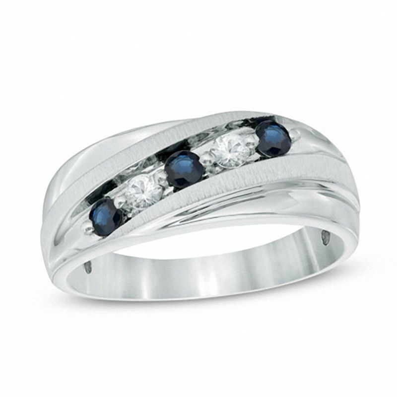 mens lab created blue and white sapphire five stone slant band in sterling silver - Wedding Rings Mens