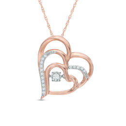 Unstoppable Love™ 1/10 CT. T.W. Diamond Layered Tilted Heart Pendant in 10K Rose Gold