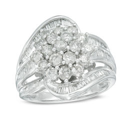 2 CT. T.W. Diamond Cluster Ring in 10K White Gold