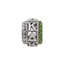 Persona® Sterling Silver ?appa Delta White and Green Crystal Charm