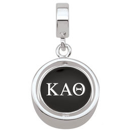 Persona® Sterling Silver ?appa Alpha Theta Black and Gold Enamel Spinner Charm