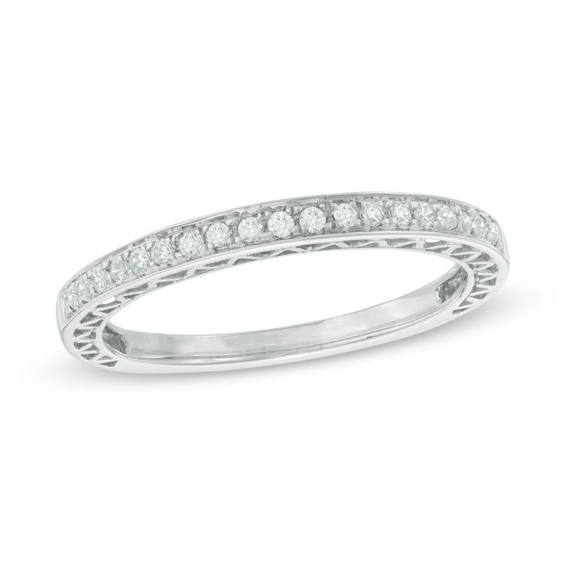 tw diamond anniversary band in 10k white gold - 25th Wedding Anniversary Rings