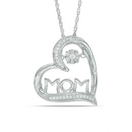 "Unstoppable Love™ 1/10 CT. T.W. Diamond Tilted Heart ""MOM"" Pendant in 10K White Gold"