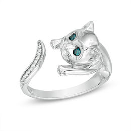 Enhanced Blue and White Diamond Accent Cat Open Ring in Sterling Silver - Size 7