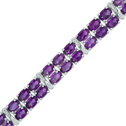 Oval Amethyst and Diamond Accent Double Row Bracelet in Sterling Silver - 7.5""