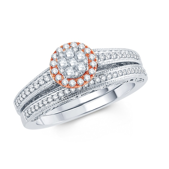 1/2 CT. T.w. Composite Diamond Frame Bridal Set in 10K Two-Tone G
