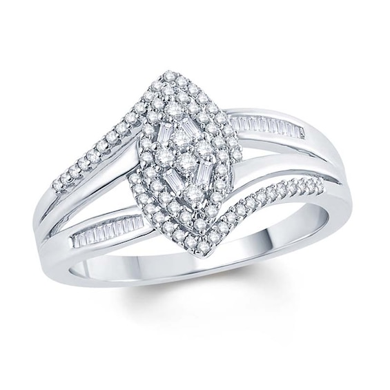1/3 CT. T.w. Marquise Composite Diamond Frame Engagement Ring in