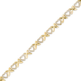 "Alternating ""X"" and Heart Bracelet in 10K Two-Tone Gold - 7.25"""