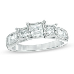 1 CT. T.W. Princess-Cut Diamond Past Present Future® Engagement Ring in 10K White Gold