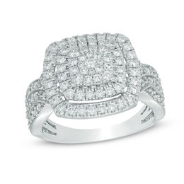 1 CT. T.W. Diamond Cluster Square Frame Vintage-Style Ring in 10K White Gold