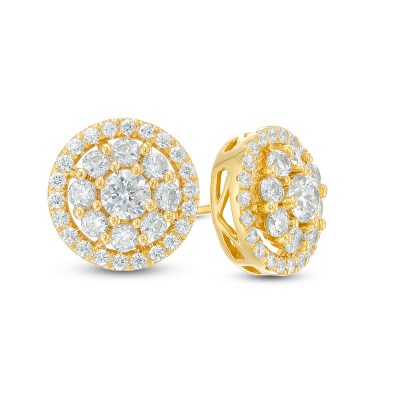 T W Diamond Frame Stud Earrings In 14k Gold