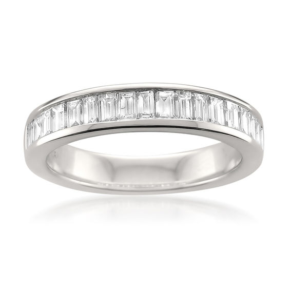 467946a160af2 T.W. Baguette Diamond Channel-Set Anniversary Band in 14K White Gold (I SI1)