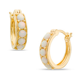 3.0mm Lab-Created Opal Huggie Hoop Earrings in Sterling Silver and 18K Gold Plate