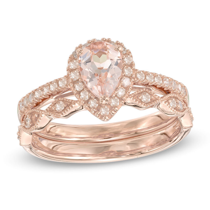 precious bride pear shaped morganite and 14 ct tw diamond frame - Pear Shaped Wedding Ring