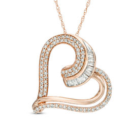 1/2 CT. T.W. Diamond Tilted Heart Pendant in 10K Rose Gold