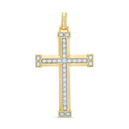1/2 CT. T.W. Diamond Cross Necklace Charm in 10K Gold