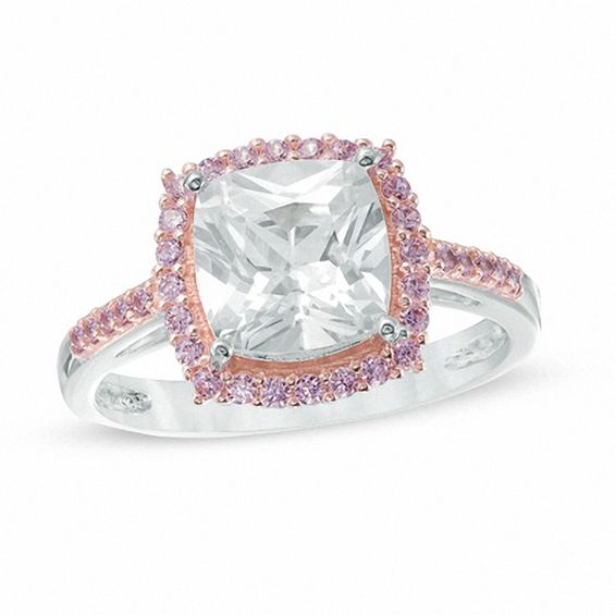 Zales 8.0mm Cushion-Cut Lab-Created White and Pink Sapphire Frame Ring in Sterling Silver and 18K Rose Gold Plate