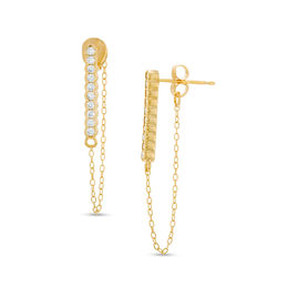 Lab-Created White Sapphire Drop Chain Earrings in Sterling Silver and 18K Gold Plate