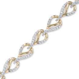 1 CT. T.W. Diamond Flame Link Bracelet in 10K Gold - 7.25""