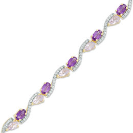 Amethyst and White Topaz Alternating Bracelet in Sterling Silver with 14K Gold Plate - 7.25""