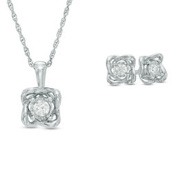 1/4 CT. T.W. Diamond Solitaire Twist Pendant and Earrings Set in 10K White Gold