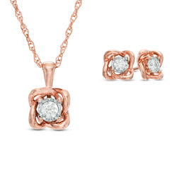 1/4 CT. T.W. Diamond Solitaire Twist Pendant and Earrings Set in 10K Rose Gold