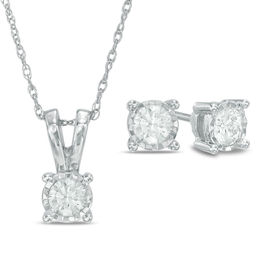1/4 CT. T.W. Diamond Solitaire Pendant and Earrings Set in 10K White Gold