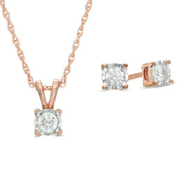 1/4 CT. T.W. Diamond Solitaire Pendant and Earrings Set in 10K Rose Gold