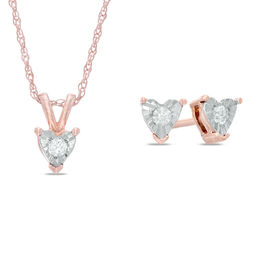 1/4 CT. T.W. Diamond Solitaire Heart Pendant and Earrings Set in 10K Rose Gold