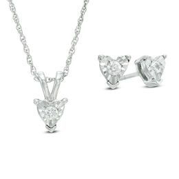 1/4 CT. T.W. Diamond Solitaire Heart Pendant and Earrings Set in 10K White Gold