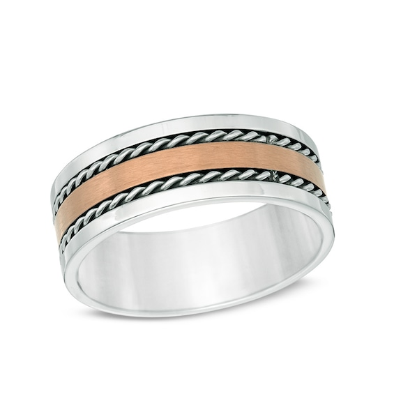 Mens 7.0mm Twist Inlay Wedding Band in Brown IP Stainless Steel