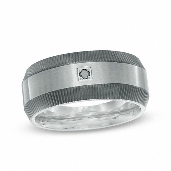 Mens 10.0mm Enhanced Black Diamond Accent Grooved Band in Two-Ton