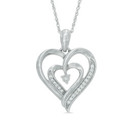 Zales 1/10 CT. T.w. Enhanced Black and White Diamond Hearts Pendant in Sterling Silver and 10K Rose Gold Plate i1SQu