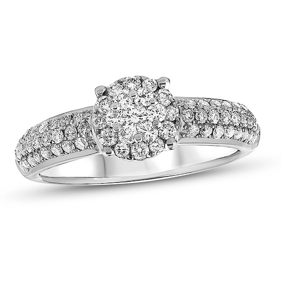 5/8 CT. T.w. Composite Diamond Three Row Engagement Ring in 18K W