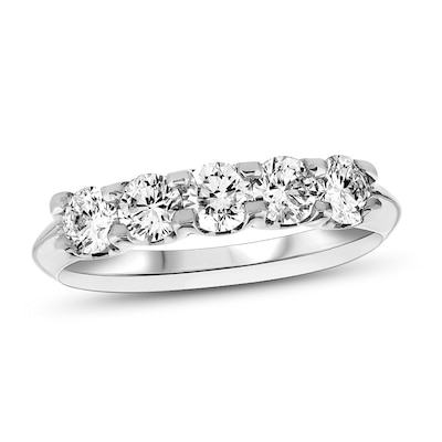 14K White Gold Round Diamond Ladies 5 Five Stone Wedding Anniversary Stackable Ring Band Value Collection ctw 2 Carat
