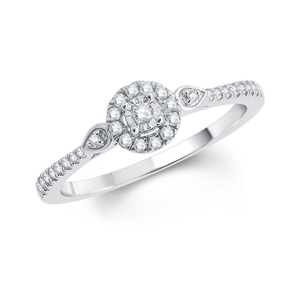 1/5 CT. T.w. Diamond Frame Promise Ring in 10K White Gold