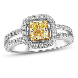 T W Cushion Cut Fancy Yellow And White Diamond