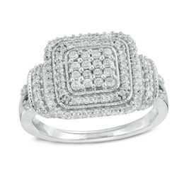 1/2 CT. T.W. Diamond Square Composite Frame Ring in Sterling Silver