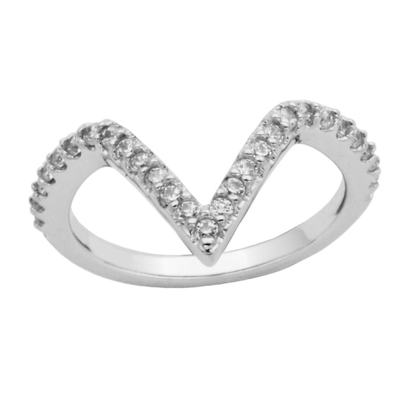 Lab-Created White Sapphire Chevron Band in Sterling Silver