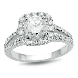 1-1/4 CT. T.W. Certified Diamond Cushion Frame Split Shank Engagement Ring in Platinum (H/SI2)