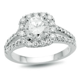 1-7/8 CT. T.W. Certified Diamond Cushion Frame Split Shank Engagement Ring in Platinum (H/SI2)