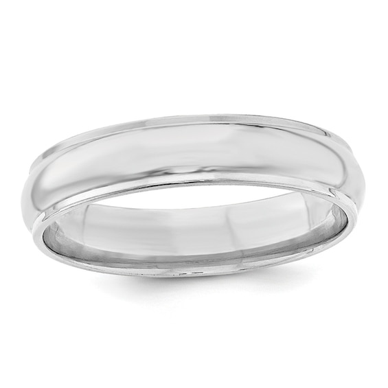 Mens 5.0mm Wedding Band in 14K White Gold