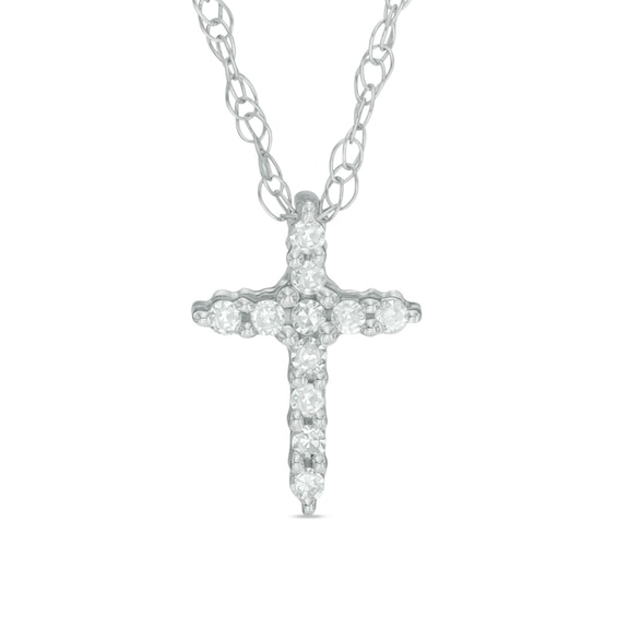 Diamond Accent Bold Cross Pendant in 10K White Gold