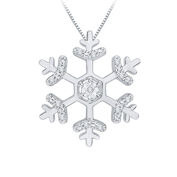 Zales Diamond Accent Snowflake Pendant in 10K White Gold TUeYM2m