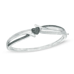 1/10 CT. T.W. Enhanced Black and White Diamond Heart Bypass Bangle in Sterling Silver - 7.5""