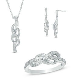 1/6 CT. T.W. Diamond Infinity Pendant, Earrings and Ring Set in Sterling Silver