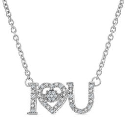"Unstoppable Love™ 1/10 CT. T.W. Diamond ""I Love You"" Heart Necklace in Sterling Silver"