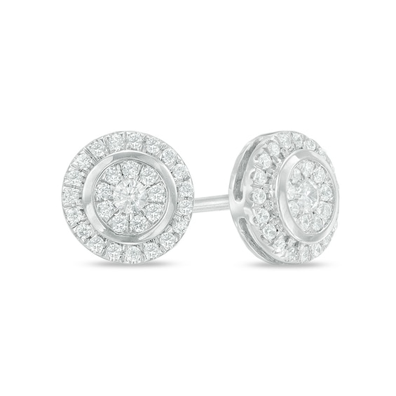 1/4 CT. T.w. Composite Diamond Round Frame Stud Earrings in 10K White Gold