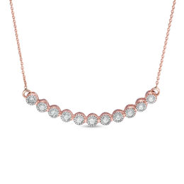1/5 CT. T.W. Diamond Bezel-Set Curved Bar Necklace in 10K Rose Gold